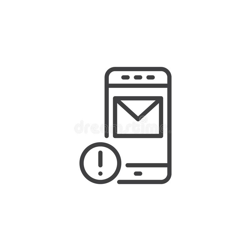 Mobile Message Notification Outline Icon Stock Vector