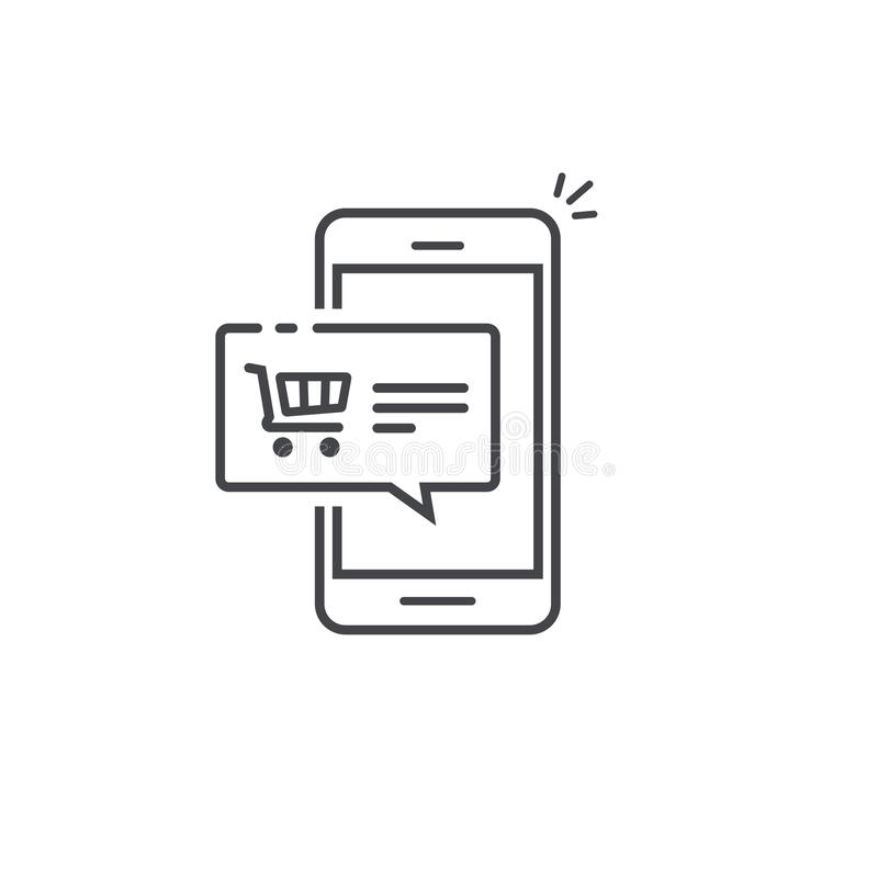 Mobile Phone With Store Outline Icon Stock Vector