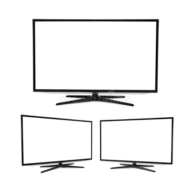 Modern Blank Flat Screen TV Set Isolated Stock