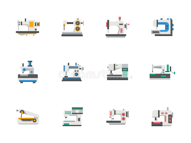 Modern Flat Design Sewing Equipment Icons Stock