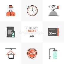 Motel Services Line Icons Set Stock Vector - Illustration