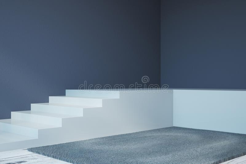 Modern Interior With Stairs And Carpet Stock Illustration   White Stairs With Grey Carpet   Top   Laminate Flooring Carpet   White Staircase   Grey Stripe   Dark Grey