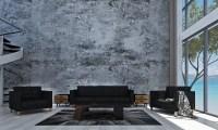 The Modern Loft Livingroom Interior Design And Concrete ...