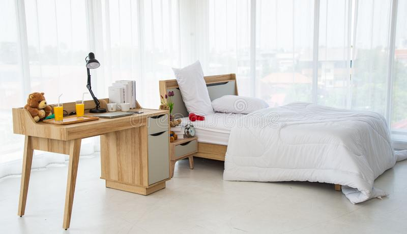 The Modern Or Minimal Interior Bedroom Design Decorated With Comfortable Double Bed And White Bedding Stock Photo Image Of Double Apartment 151165256