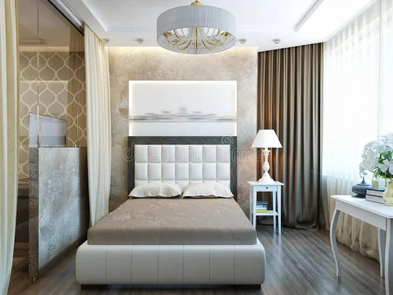 Modern Slaapkamer Binnenlands Ontwerp Met Wit Meubilair