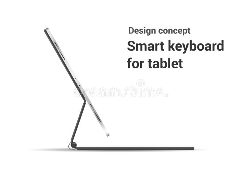 Tablet Computer With Stand On A White Background. Stock