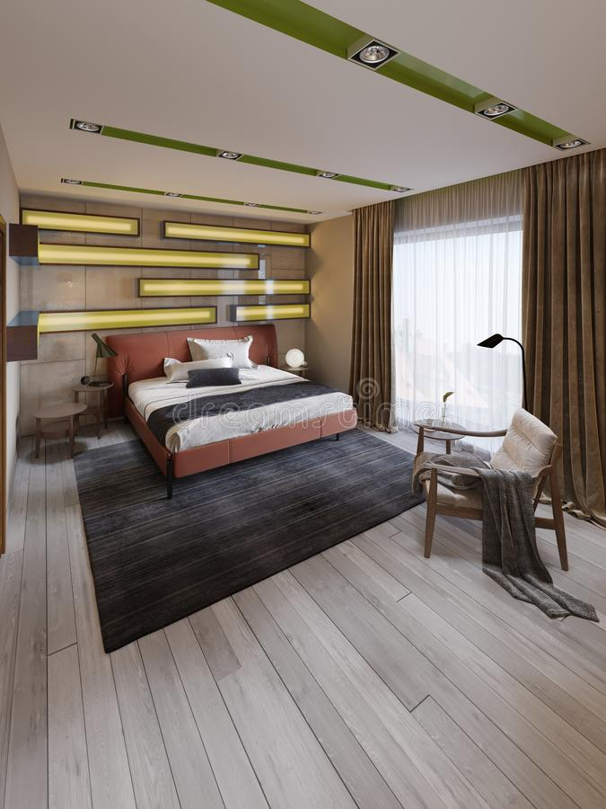 Moderne Slaapkamer Met Bruin Bed Stock Illustrations