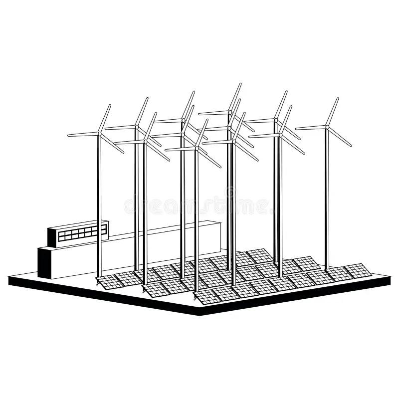 Monochromatic Solar Power Plant Stock Vector