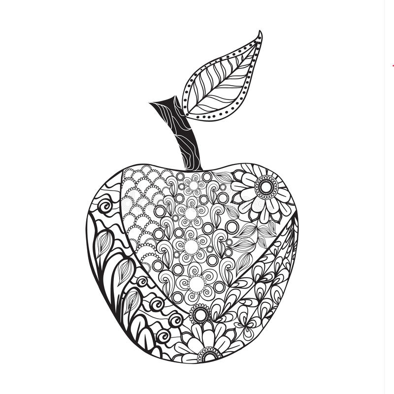 Monochrome Apple Zentangle Style For Coloring Book. Stock