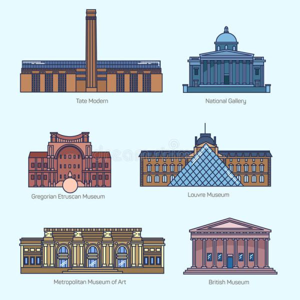 Monuments Thin Line Vector Icons Stock