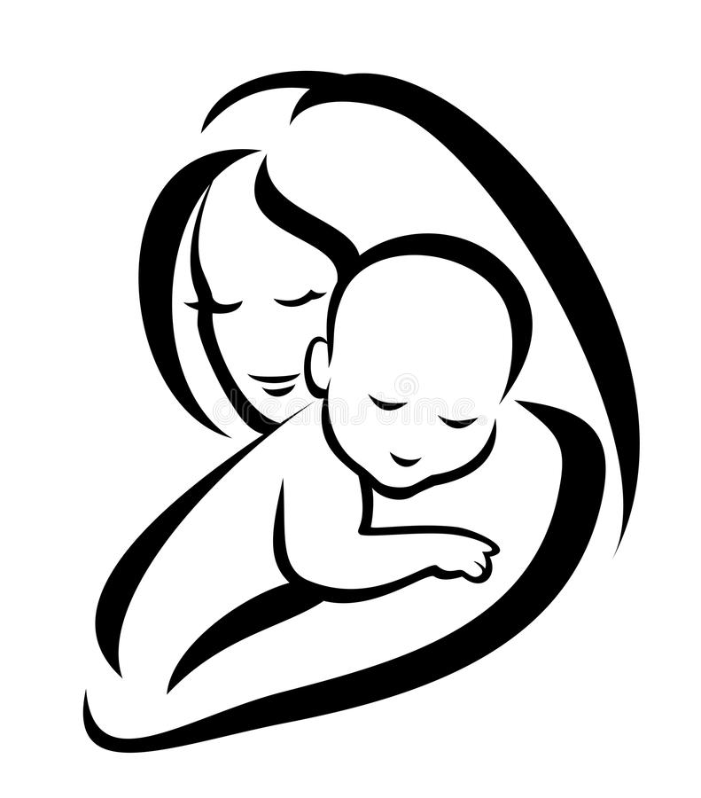 Mother And Baby Silhouette Royalty Free Stock Photos