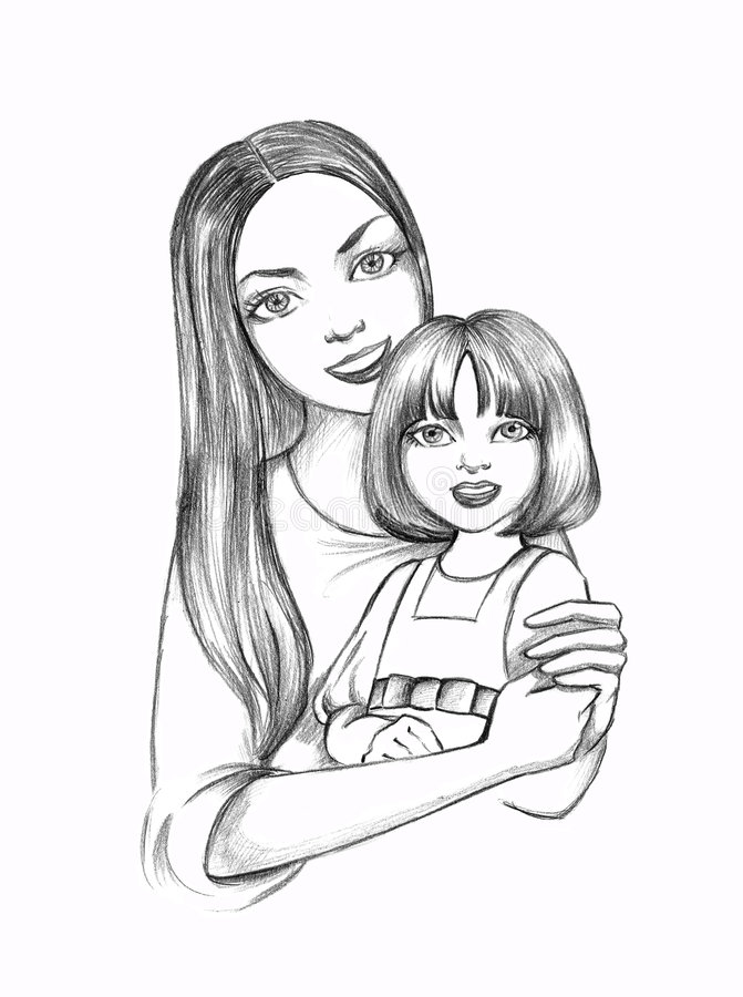 Mother with daughter stock illustration. Illustration of