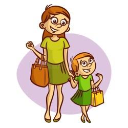 Mother With Little Girl Walking Stock Vector Illustration of cartoon kids: 75952408