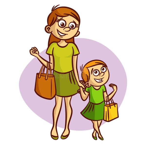Mother With Little Girl Walking Stock Vector - Illustration Of Adult Carefree 75952408