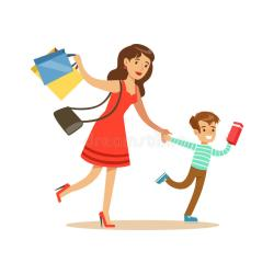 cartoon mother running shopping son department things buying character mom illustration vector grocery illustrations supermarket clip colorful ninos tienda line