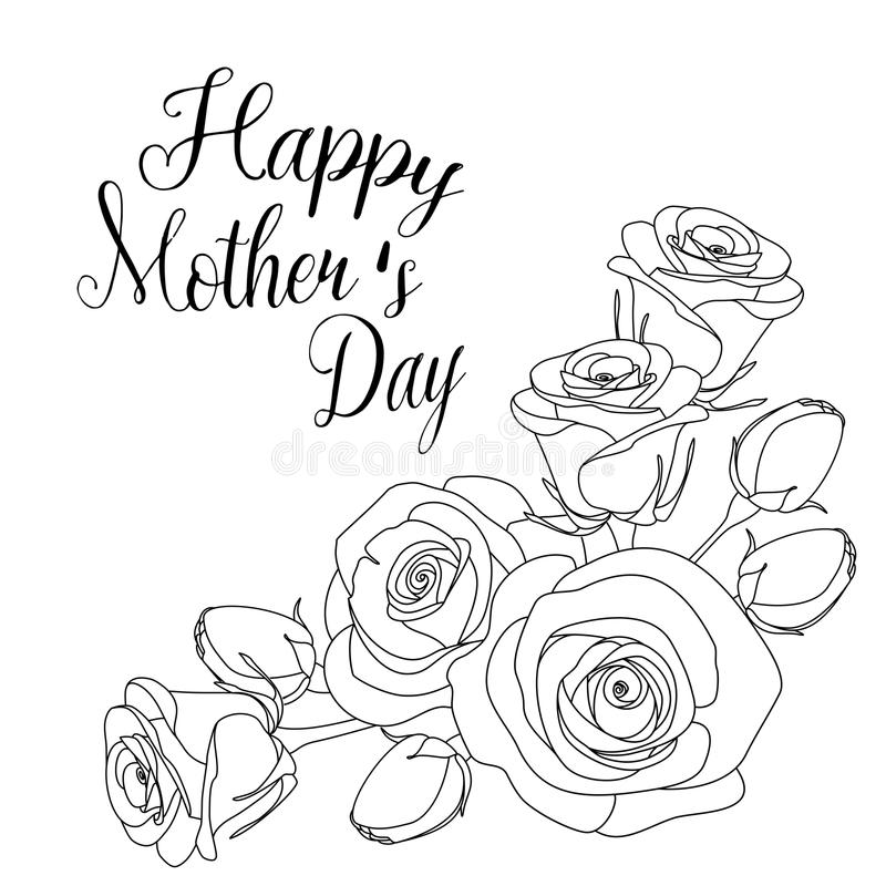 Mothers Day Greeting Card With Roses, Coloring Page For
