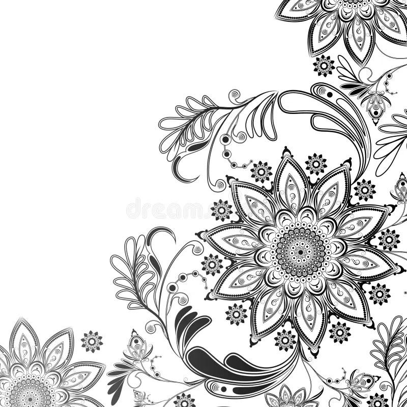 Motif Oriental En Noir Et Blanc Illustration De Vecteur