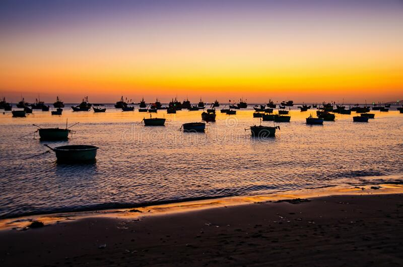 Fishing Boats On The Sea Beach During Sunset Stock Photo - Image of boardwalk. groynes: 65757578