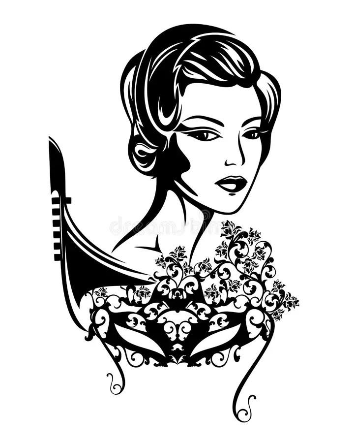 Mujer Con La Máscara Veneciana Del Carnaval Ilustración