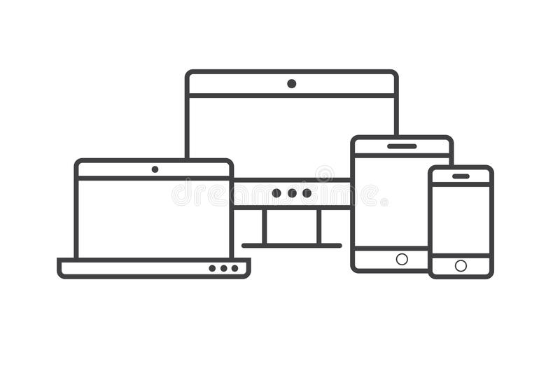 Multi Device Icons: Smartphone, Tablet, Laptop And Desktop