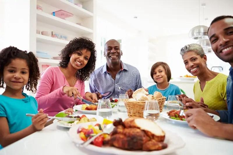 Afro American Family Eating Thanksgiving Dinner