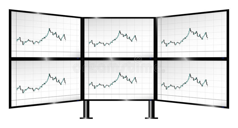 Multi-monitor Trading With Candlestick Charts Stock Vector