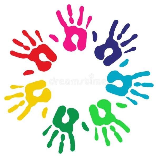 Multicolor Diversity Hands Circle Stock Vector
