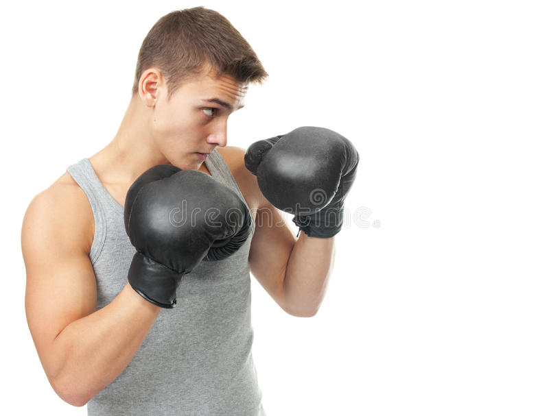 Muscular Young Boxer Man Ready To Fight Stock Photo