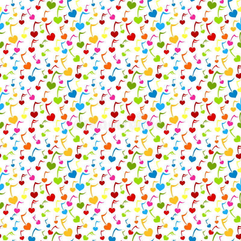 Music Note Hearts Seamless Background Royalty Free Stock