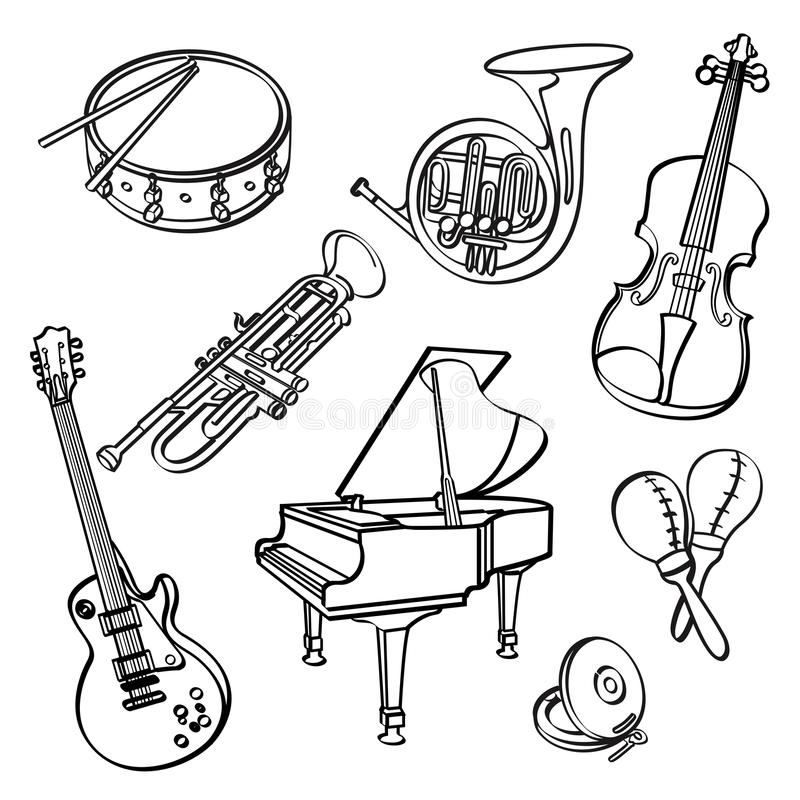 Vector Sketch Set Of Musical Instruments Vector