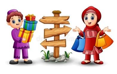 cartoon boy muslim gift holding shopping box bag illustration dreamstime vector