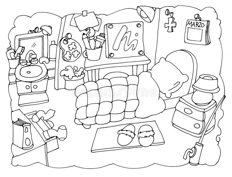 My Room, Bedroom Of An Artist Chine Coloring For Kids