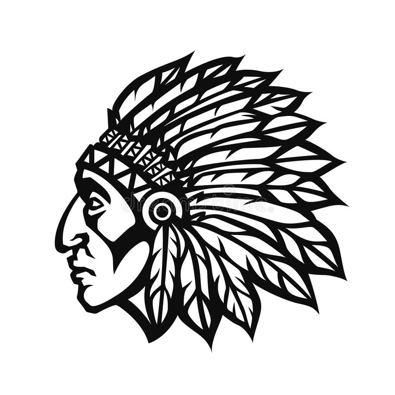 Native American Indian Chief Head Profile. Mascot Sport