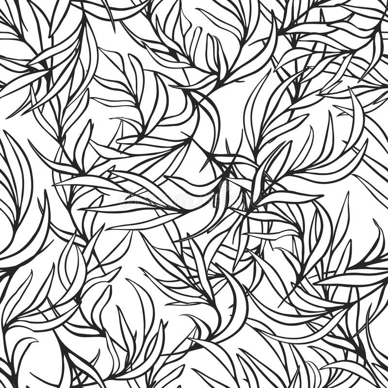 Black And White Seamless Pattern With Flowers Leaves For