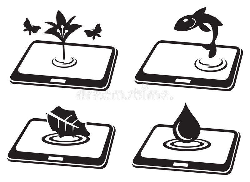 Natural Symbol On Tablet Computer Conceptual Vector Icon