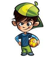 naughty boy holding football