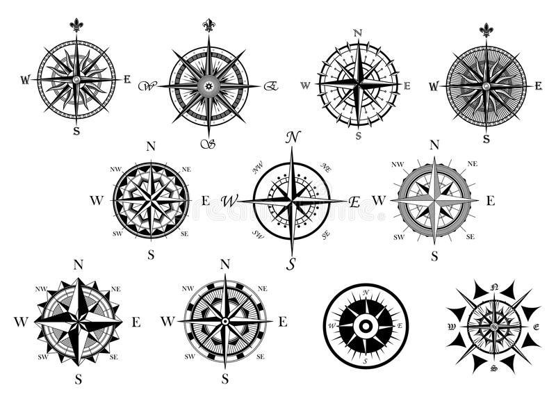 Nautical Wind Rose And Compass Icons Set Stock Vector