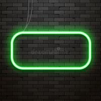 Neon Sign On A Brick Wall. Neon Glowing Decoration Stock
