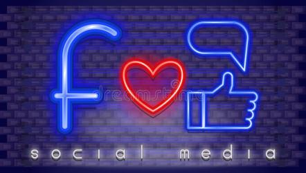 neon social icon icons glowing lights signs led banner effect