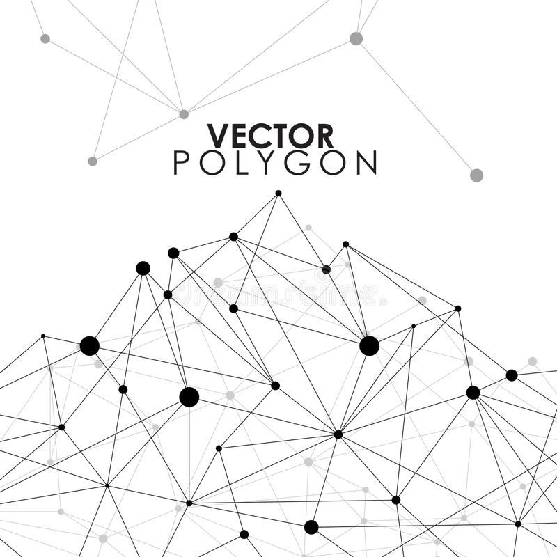 Star Polygon Line Connected Dot With Blue Background Stock