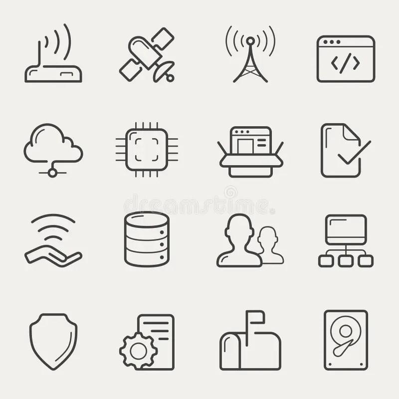 Servers And Satellite Antenna Stock Illustration