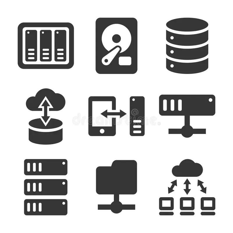 Black file server icons stock vector. Illustration of