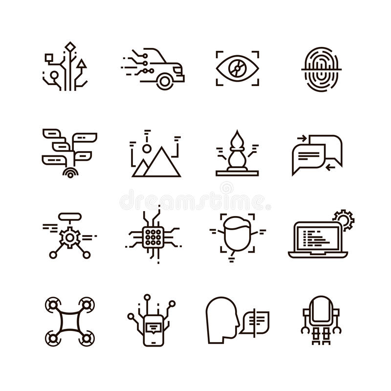 Human Brain Function Line Icons Set Stock Vector