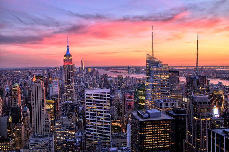 New York City Midtown With Empire State Building At Amazing Sunset Stock Photo - Image of night, illuminated: 45815106