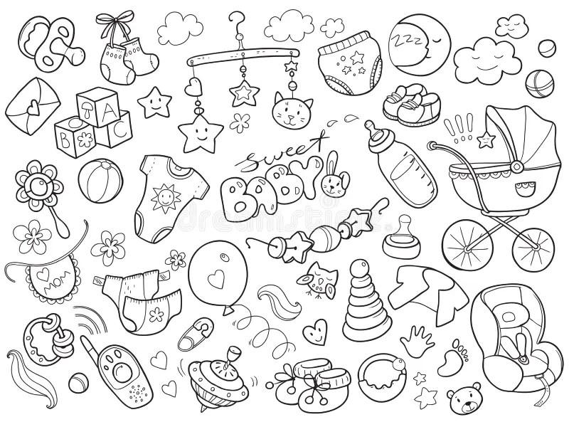 Newborn Infant Themed Doodle Set. Baby Care, Feeding