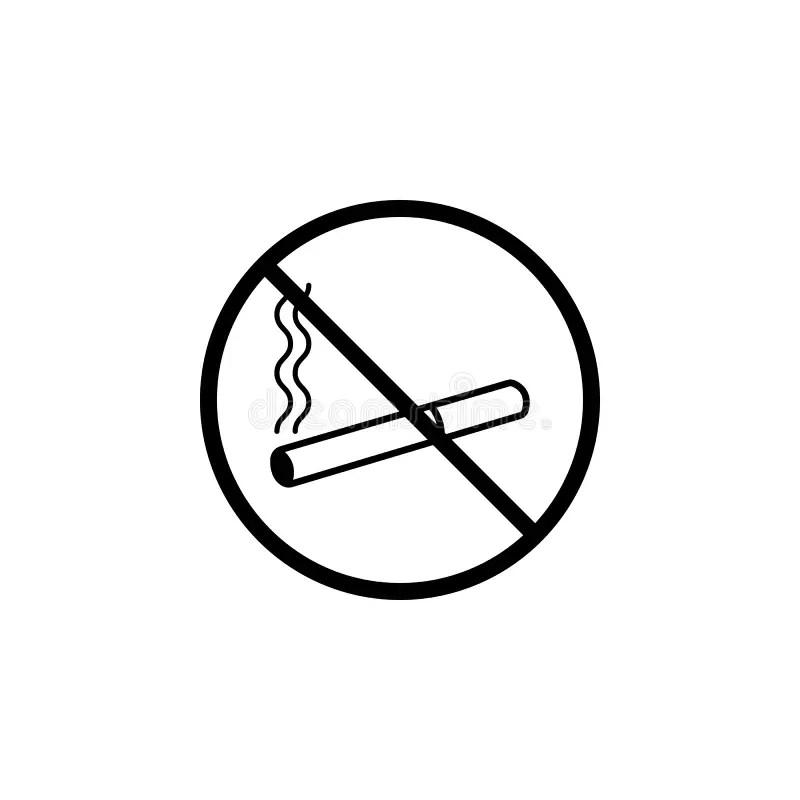 No Smoking Line Icon, Prohibition Sign, Forbidden Stock
