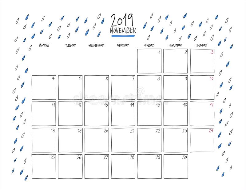 November 2019 Wall Calendar. Doodle Style. Stock Vector