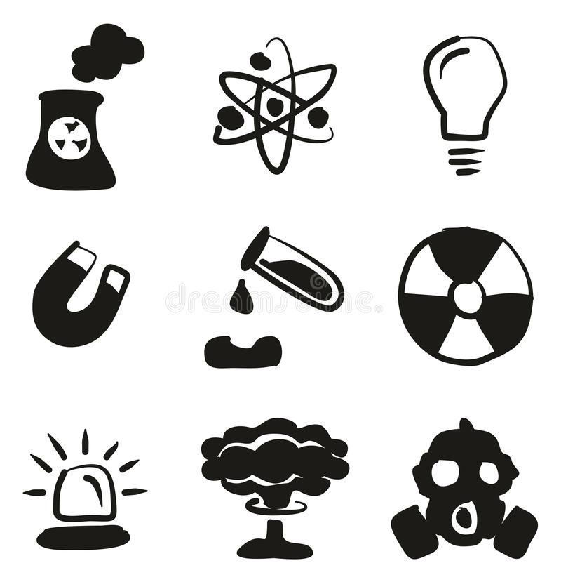 Biohazard Or Radioactive Icons Thin Line Vector