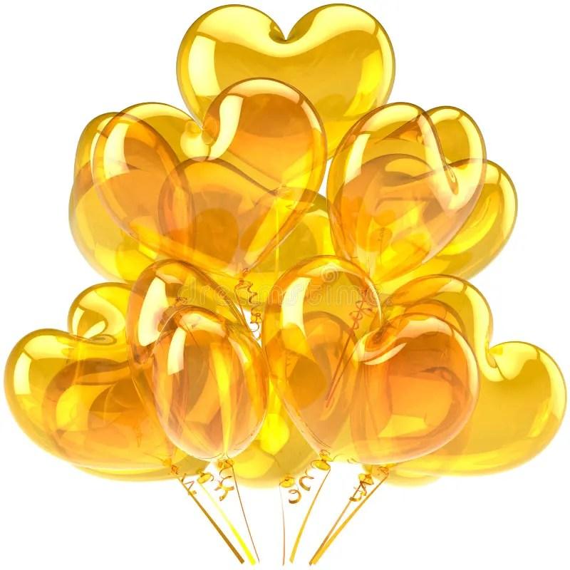 O Aniversário Balloons O Amarelo Dado Forma Coração