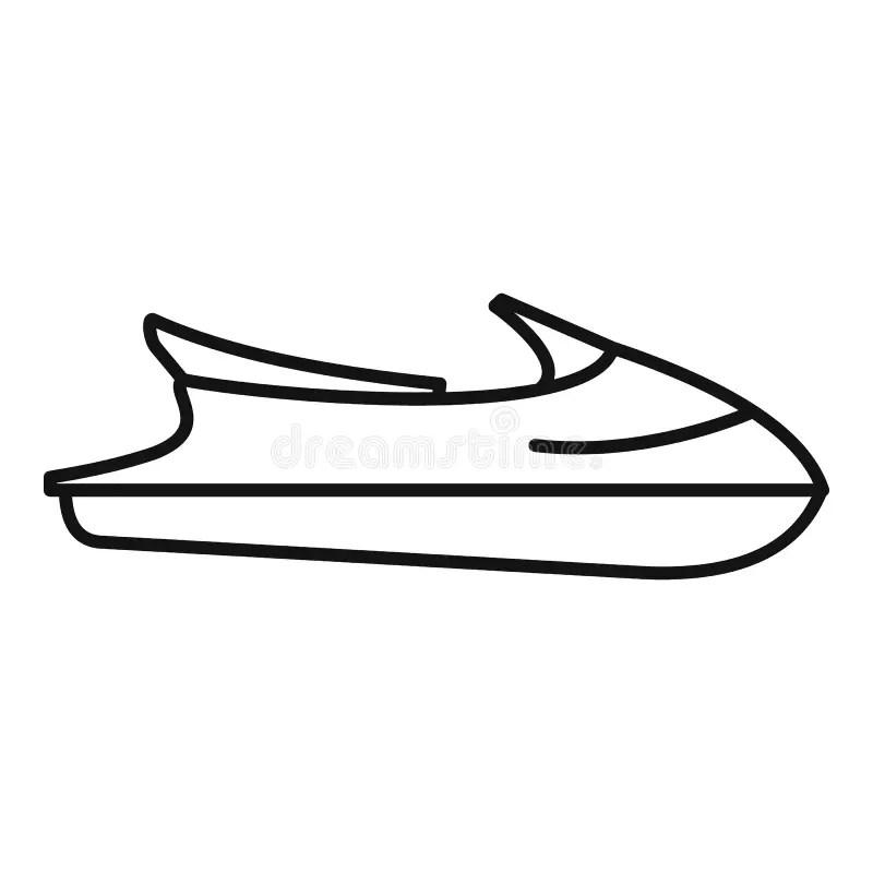 Ocean Jet Ski Icon, Outline Style Stock Vector